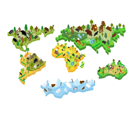 World map animal isometric style. Earth continent flora and fauna vector illustration.