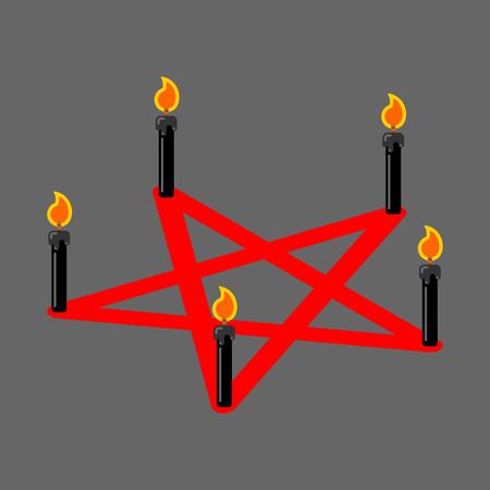 Pentagram Of Devil Satan Sign Ritual Symbol Black Candles Vector