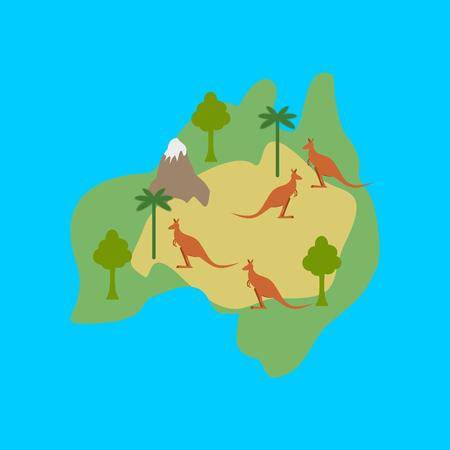 Australia map flora and fauna. Animals and plants on mainland vector illustration. Illustration