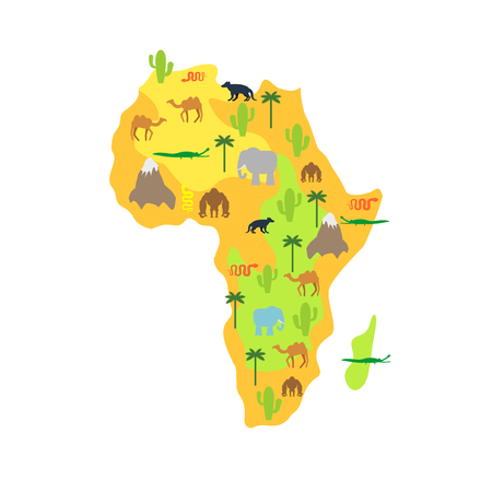 Africa map animal flora and fauna vector illustration.