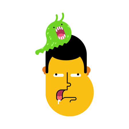 Stupid face, slug on head was eating brains. Silly head sheepish guy vector illustration.