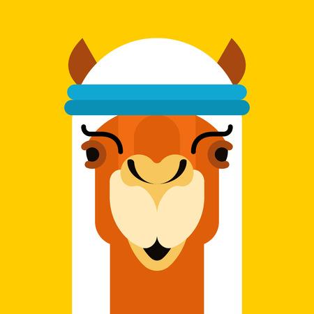 Arabian camel. Animal in National UAE clothing. Vector illustration