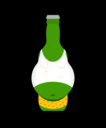 Beer belly in bottle isolated. Pot-bellied bottle Alcohol Vector illustration