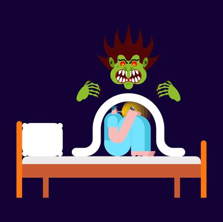 Nightmare Guy under blanket fears. Vector illustration Vettoriali