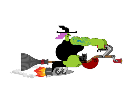 Witch on racing broom. Broomstick Speeding turbo. Halloween Vector illustration.