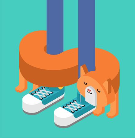 Cat rubs against legs Isometric. Pet Vector illustration Illusztráció