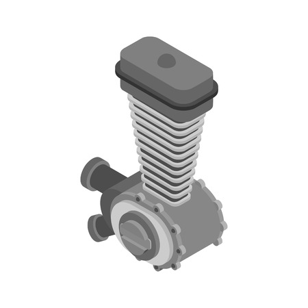 Engine racing Isometric. Motor motorcycle isolated. Vector illustration. Illustration