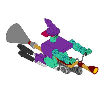 Witch on racing broom Isometric. Broomstick Speeding turbo. Halloween Vector illustration.