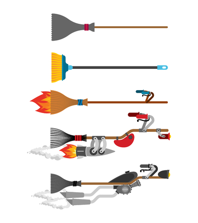 Witch broom set Technology evolution. Broomstick Speeding turbo. Halloween Vector illustration.