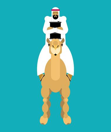 Arabian man on camel and oil barrel OAE guy. Vector illustration