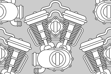 Engine bike pattern seamless. Motor motorcycle background. Vector illustration Illustration