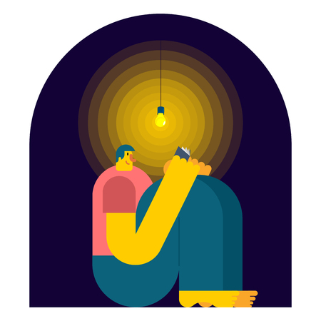 Man reading book  in dark. Night reading. Vector illustration Illustration