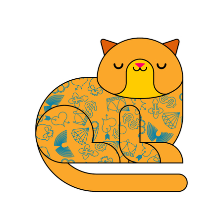 Cat with tattoo. Fashionable Stylish animal. Hipster pet. Vector illustration