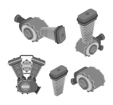 Engine racing set Isometric. Motor motorcycle isolated. Vector illustration. Illustration