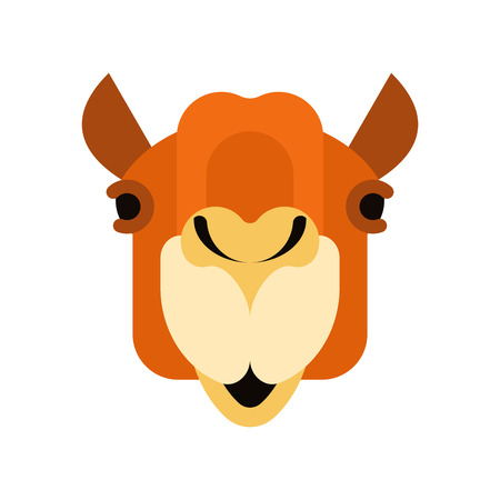 Camel face front. Head Animal UAE. Beast of desert. Vector illustration