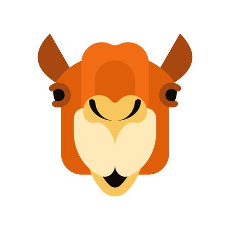 Camel face front. Head Animal UAE. Beast of desert. Vector illustration