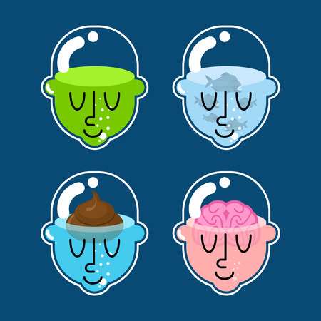 Glass transparent head set. Shit and fish. Brain and water. Vector illustration Illustration