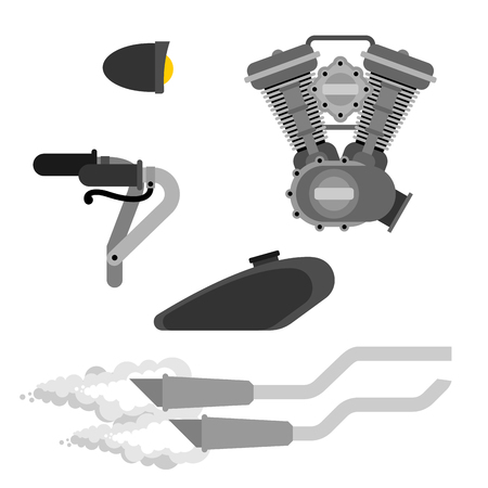 Bike Motorcycle part set. Engine racing. Exhaust pipe and Steering wheel. Fuel tank and Headlight. Vector illustration