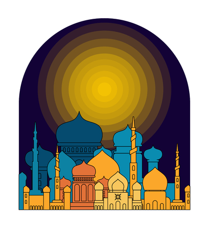 Mosque is night. Islamic religious building. Muslim holiday Eid Mubarak Vector illustration. Ramadan Kareem Greeting Card