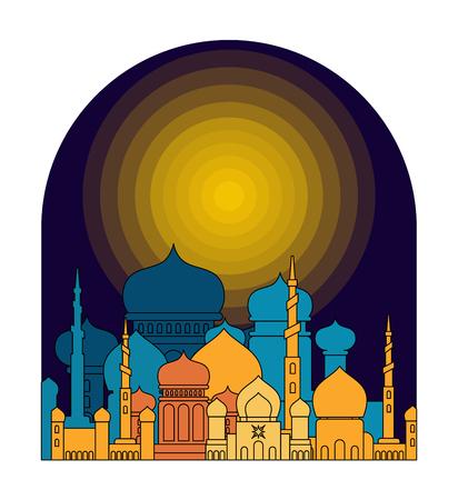 Mosque is night. Islamic religious building. Muslim holiday Eid Mubarak Vector illustration. Ramadan Kareem Greeting Card