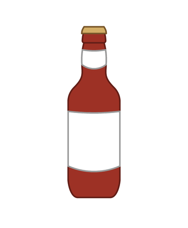 Dark beer bottle isolated. Alcohol Vector illustration