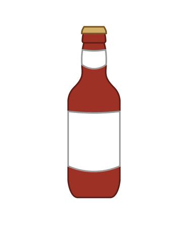 Dark beer bottle isolated. Alcohol Vector illustration Illustration