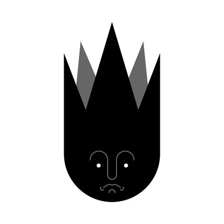 Símbolo de la soledad. Signo de cara triste de decepción. Ilustración vectorial. Ilustración de vector