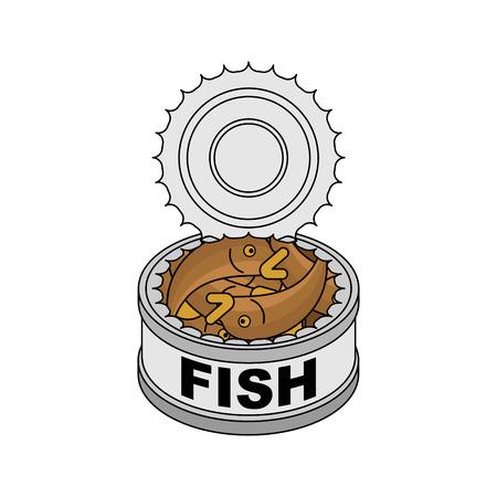 Pescado enlatado aislado. Ilustración de Vector de pescado de hojalata.