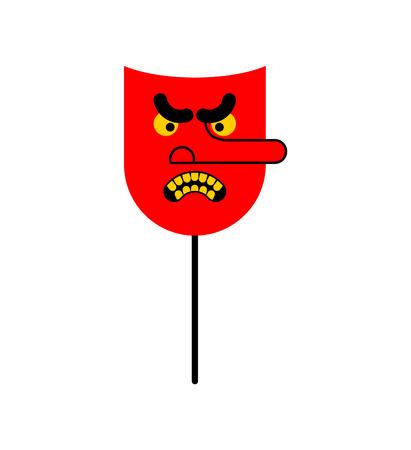 Evil red mask. face is bad. Vector illustration