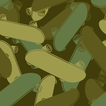 Patrón militar monopatín sin costuras. Textura de soldado de color caqui deportivo. Fondo del ejército de camuflaje verde. Ilustración de vector de ornamento protector Ilustración de vector