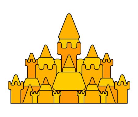 Big Sand castle isolated. Beach building. Vector illustration