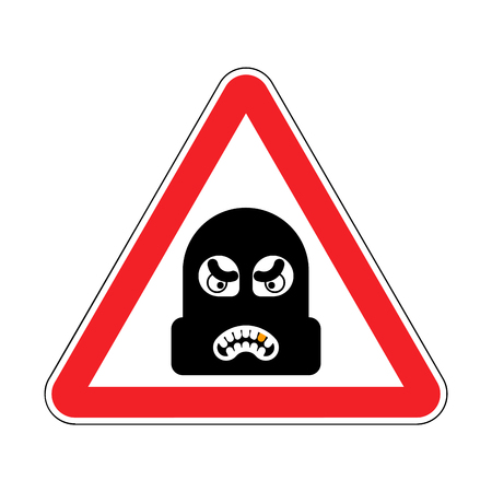 Attention Robber. Caution Rogue. It is forbidden Burglar. Red Road prohibitory sign. Danger thief vector illustration