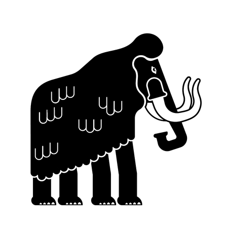 Mammoth isolated. Prehistoric elephant on white background. Giant animal Jurassic period. Vector illustration Иллюстрация