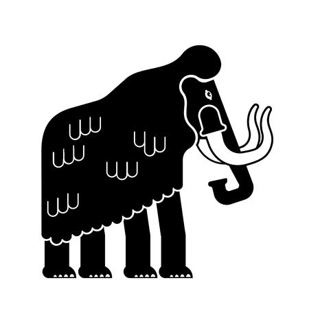 Mammoth isolated. Prehistoric elephant on white background. Giant animal Jurassic period. Vector illustration Illustration