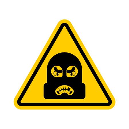 Atención ladrón. Precaución Rogue. Está prohibido Ladrón. Señal de prohibición de la carretera amarilla. Ilustración de vector de ladrón de peligro