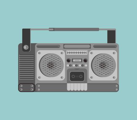 Boombox retro aislado. grabadora de cinta ilustración vectorial