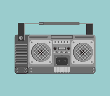 Boombox retro isolated. tape recorder Vector illustration
