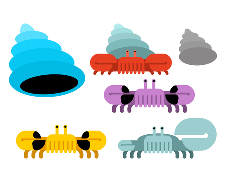 Underwater world set. Shell and crab Vector illustration