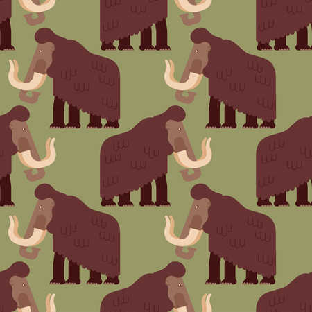 Mammoth pattern seamless. Prehistoric elephant background. Giant animal Jurassic period. Vector illustration
