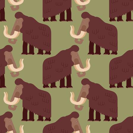 Mammoth pattern seamless. Prehistoric elephant background. Giant animal Jurassic period. Vector illustration