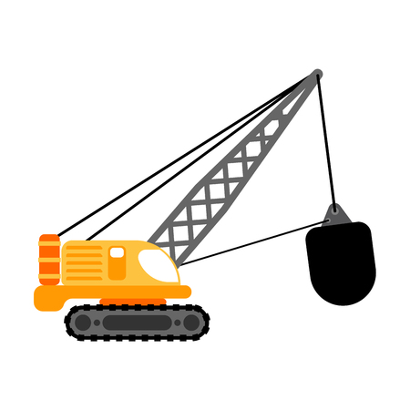 Crane with wrecking ball isolated. Construction machinery vector illustration