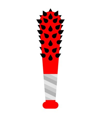 Baseball bat with thorns. Weapon bully vector illustration Illustration