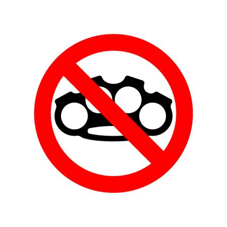 Schlagring stoppen. Kein Waffenräuber. Rotes Verbotszeichen. Verbot Gefahr Einbrecher Vektor-Illustration