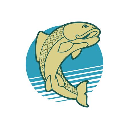 Fish emblem. Fishing club Fishermen sign. Vector illustration
