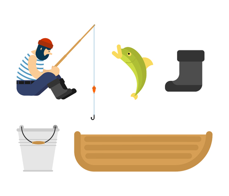 Fisherman set.  boat fishing. Fishing rod and Fish. Vector illustration