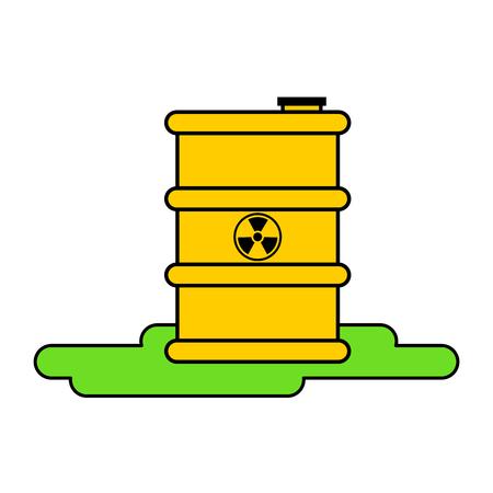 Yellow barrel radioactive waste. Biohazard container. Vector illustration