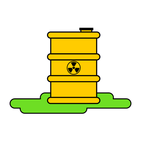 Yellow barrel radioactive waste. Biohazard container. Vector illustration