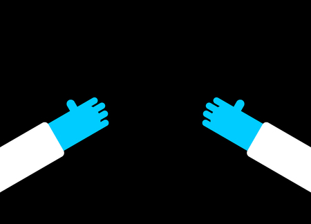 Hands of doctor in blue gloves. Vector illustration