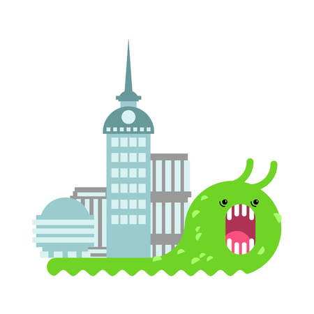 Snail and Office building. Slug and Skyscraper. Vector illustration