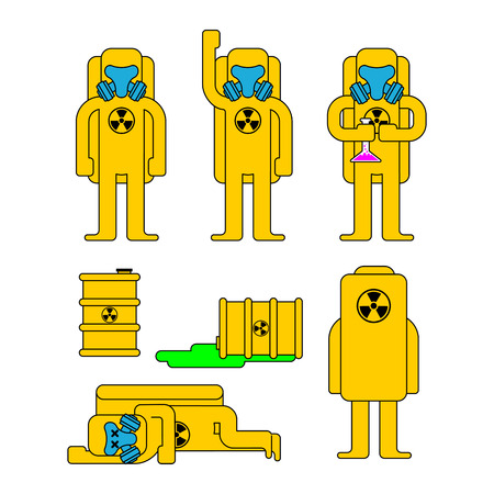 Biohazard protection set. Yellow Suit Chemical protection and barrel. Costume Radioactive and biological hazard. Vector illustration
